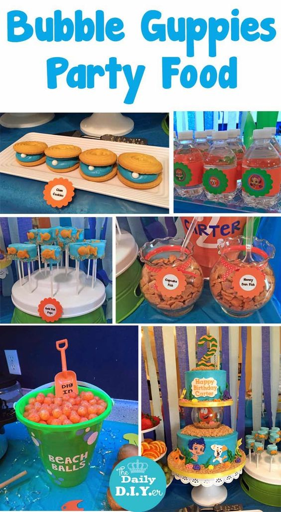 Great Under the Sea themed party food and dessert!  The Daily DIYer: Bubble Guppies Party: Food