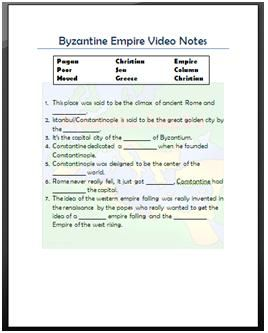 byzantine empire video notes this is a worksheet i made based on a discovery education video. Black Bedroom Furniture Sets. Home Design Ideas