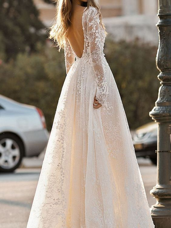 Material: Lace Body Shape: All Sizes Silhouette: Ball Gown Train: Sweep/Brush Hemline: Floor-Length Neckline: V-Neck Sleeve Length: Long Sleeves Waist: Natural Back Details: Backless Embellishments: Lace Wedding Venues: Garden/Outdoor Season: Spring,Summer,Fall,Winter *@**@*731414