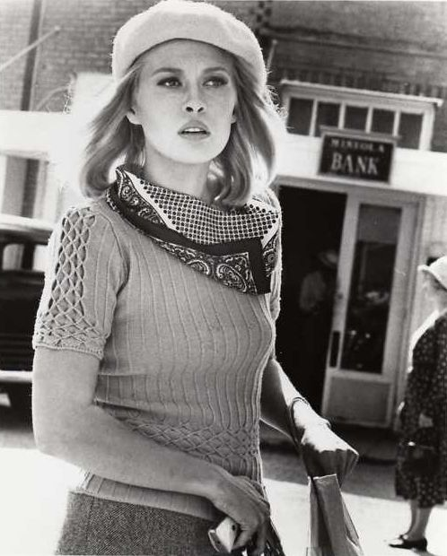 theyroaredvintage:    Faye Dunaway in âBonnie & Clydeâ, 1967.     I canât decide if I love this scarf more or the sweater.