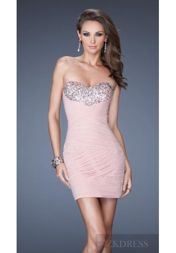 Embellished Chiffon Baby doll Sweetheart Pink Natural Evening Dress Cheap zkdress24047