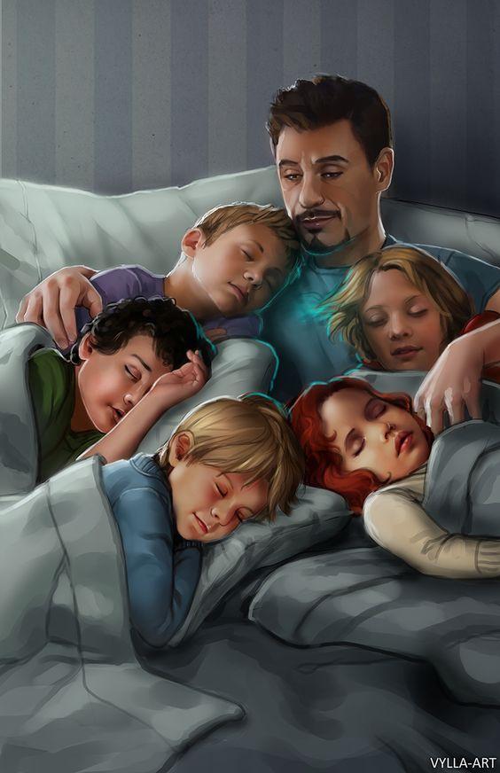 Tony Stark cuddling w deaged Avengers fanart by vylla-art