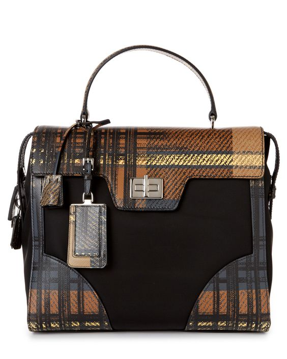 prada brown leather handbags - Prada Tartan & Saffiano Leather Briefcase | Handbags/Clutches ...