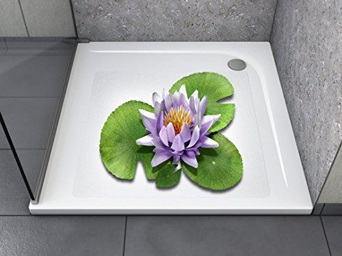 """Anti-Rutsch Aufkleber """"Lily Lotus (quadratisch)"""" Antibakteriell, selbstklebend, leicht zu installieren und rückstandslos entfernbar. Ersetzt herkömmliche, schmutz-ansetzende Duschmatten. Für Badewanne und Dusche."""