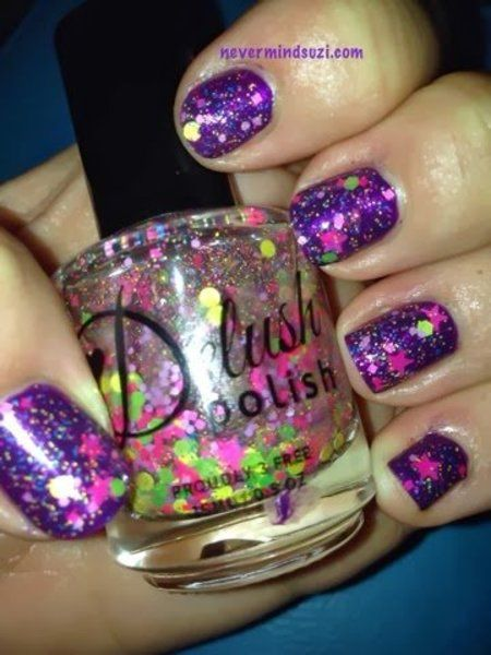 Delush Polish - Star Gazer #nevermindsuzi #nailart #glitterpolish #purplenails - See more nail looks at Bellashoot.com