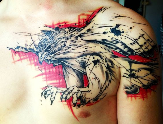 Chest Piece (Eagle) done by Jacob Pedersen, Crooked Moon Tattoo, Helsingborg.