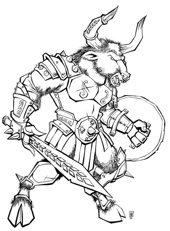 minotaur coloring pages - minotaur from greek mythology line drawing bing images
