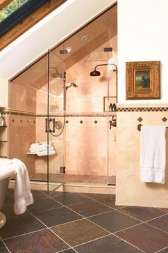 Sloped ceiling ceiling design and ceilings on pinterest for Small bathroom with sloped ceiling