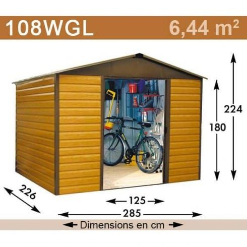 abri jardin metal aspect bois 6 44 m2