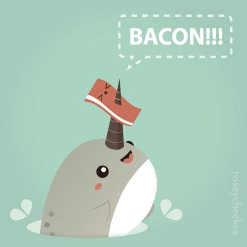 Funny Narwhal Cartoon Bacon and Narwals. win...