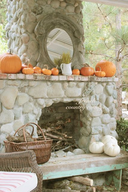 FRENCH COUNTRY COTTAGE: A few pumpkins and a fireplace to die for.: