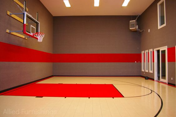 Home indoor and basketball on pinterest for Basketball court inside house