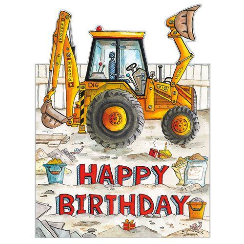 BIRTHDAY GIFT CARD NOVELTY BLANK GREETING CARD CONSTRUCTION VEHICLE