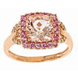 Pretty Morganite and Sapphire ring!