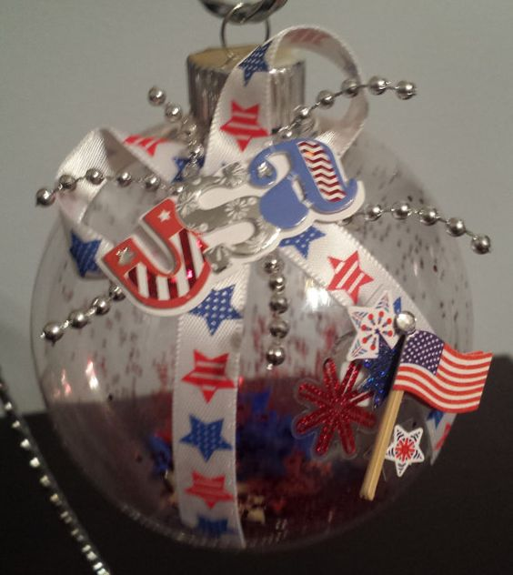 Patriotic Christmas Ornament USA With Stars & By