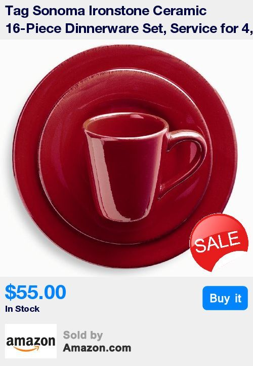 4 Place settings; dinner plate, salad plate, bowl and mug * Red high quality ironstone ceramic hand painted with distressed strokes * Microwave and dishwasher safe * Dinner plate 11-inch diameter, salad plate 8-1/4-inch diameter * Bowl 6-inch diameter, mug 14-ounce capacity