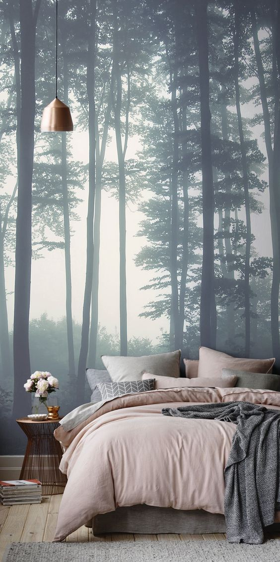 forrest wallpaper, woods wallpaper, bedroom wallpaper, green bedroom, scandinavian bedroom, pastel bedroom, pantone colors, modern bedroom decorating