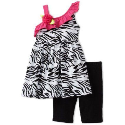 Sweet Heart Rose Girls 2-6x Zebra Print Knit Dress With Bike Shorts