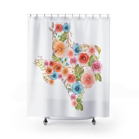 Super Cute Texas Watercolor Flower Shower Curtain Perfect For
