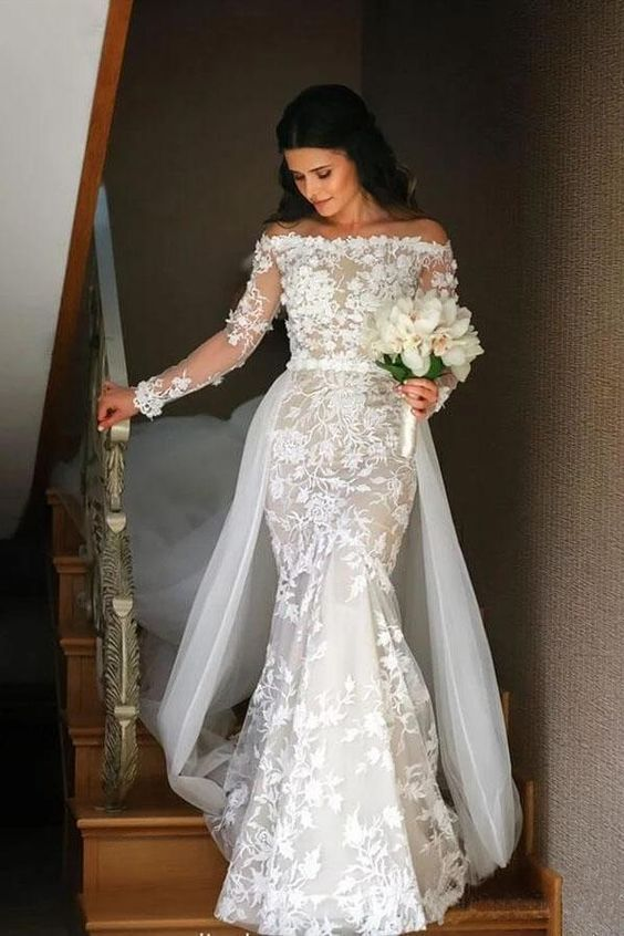 Off Shoulder Lace Mermaid Wedding Dress With Tulle Overlay In 2020 Detachable Train Wedding Dress Online Wedding Dress Wedding Dress Long Sleeve