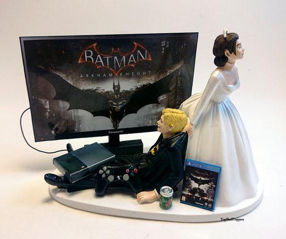 Funny Wedding Cake Topper jeu vidéo BAT MAN mariée et le marié Gamer/ventilateur Xbox One/PS4