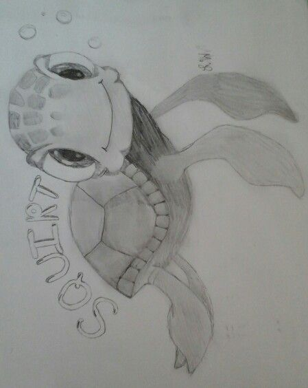Cute turtle from Finding Nemo (bubbles drawn by Erin)