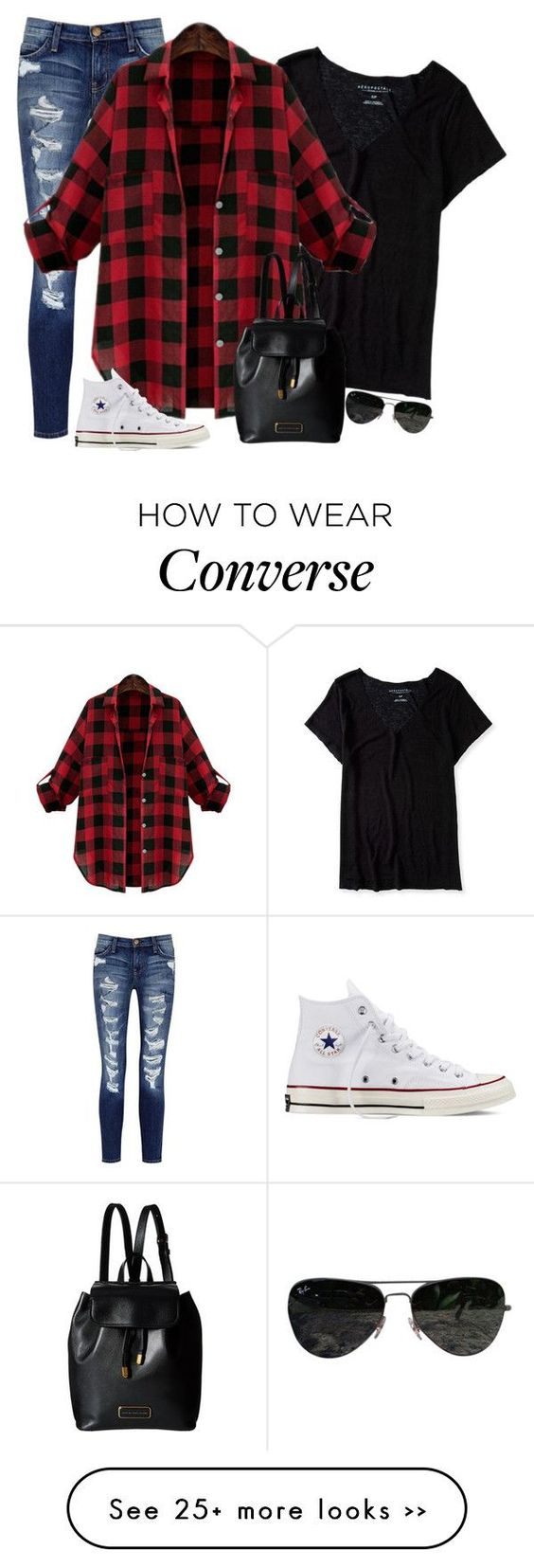 """""""Football Fashion"""" by selenaforever4 on Polyvore featuring Current/Elliott, Aéropostale, Converse, Marc by Marc Jacobs, Ray-Ban and footballfashion"""