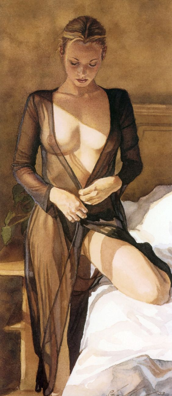 Steve Hanks. A Youthful Glow. I am always fascinated by artist who can paint see through clothing and make it so real.