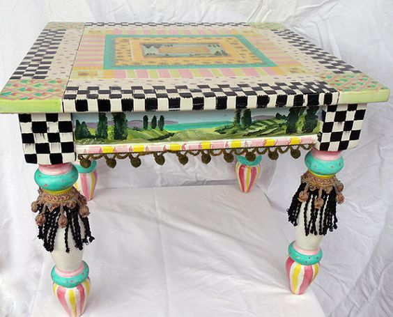 Mackenzie Childs Inspired End Or Coffee Table Note The