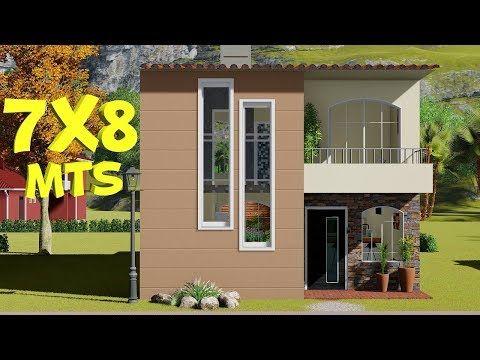 Plano De Casa De 7x8m 2 Plantas 3 Dormitorios Youtube Contruccion De Casas Constructoras De Casas Planos De Casas Sencillas