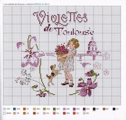 0 point de croix grille et couleurs de fils petite fille et violettes de toulouse zuk nftige - Grille point de croix pinterest ...