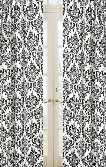 Black and White Damask Print Cotton 84-inch Curtain Panel Pair ...
