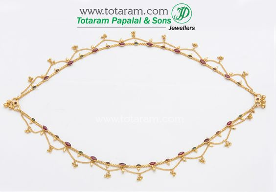 22 Karat Gold Anklets with Rubies - 1 Pair