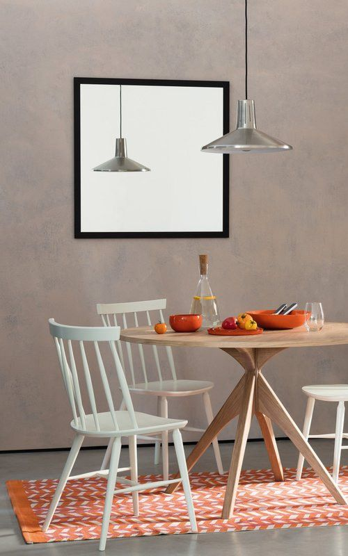 Austin Dining Set With Round Oak Dining Table And 4 Talia White