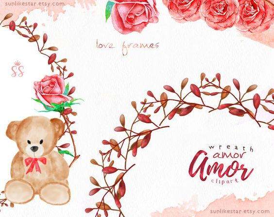 Digital Watercolor Valentine Clipart: Frame Clipart, Valentine ...
