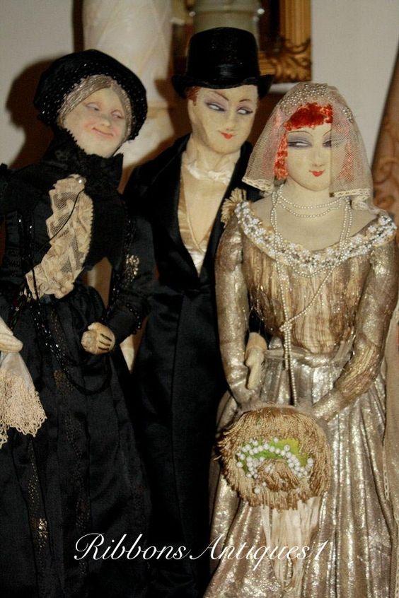 Stunning Luxurious French Wedding Farago Boudoir dolls from ribbonsantiques1 on Ruby Lane
