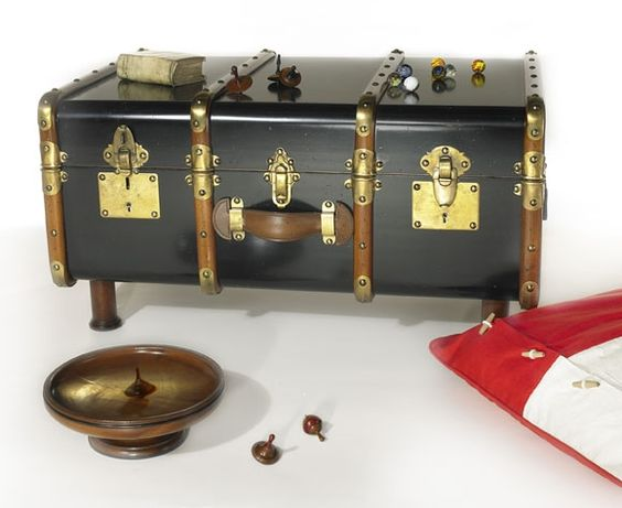 Stateroom Steamer Travel Trunk Coffee Table Antiqued Black Authentic Models Campaign Furniture