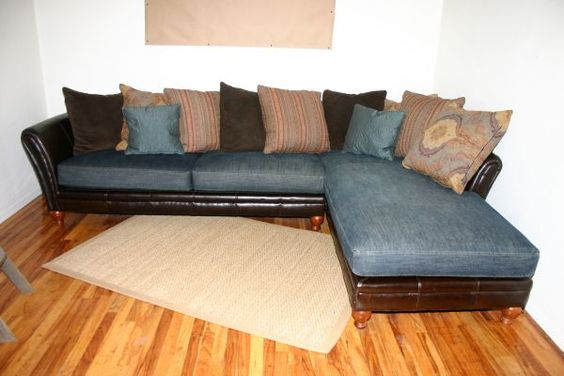 My new leather denim sectional sofa for our family room for Small sectional sofa denim