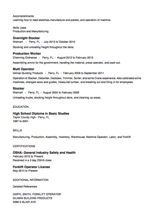 Stocker Resume Example -    resumesdesign stocker-resume - high school diploma on resume examples