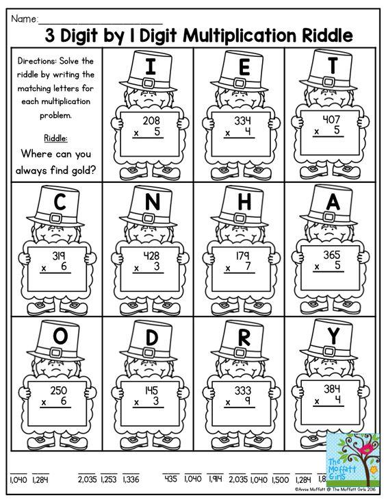 math worksheet : 3 digit by 1 digit multiplication riddle i love how this activity  : Multiplication Riddle Worksheet