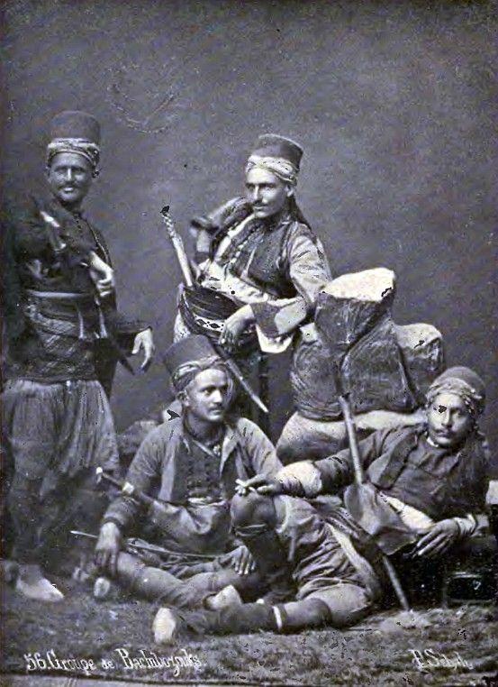 Ottoman mountaineer irregulars, bashi bazouks, in the late 19th century.: