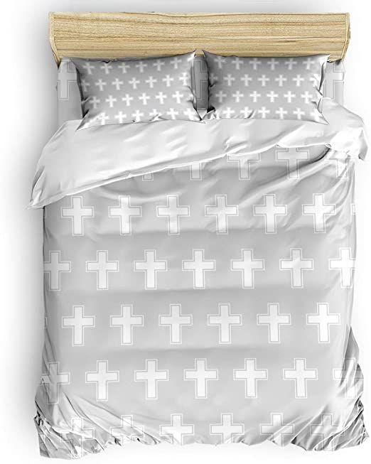 Bilagawa Full 4 Pcs Duvet Cover Set For Women Men Super Soft Bedding Sets Happy Easter Grey And White Bed Sheet Duvet Cover Sets White Bed Sheets Soft Bedding