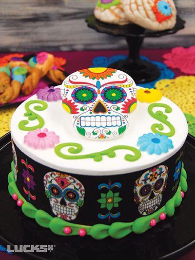 Dia de los Muertos Cake featuring Lucks Dia de los Muertos Designer Prints® decorations and Dec-Ons® decorations.