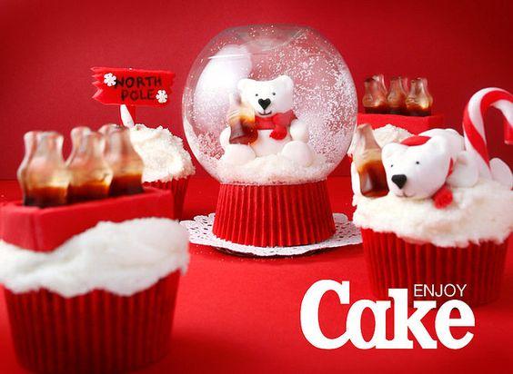 Snow globe cola cupcake