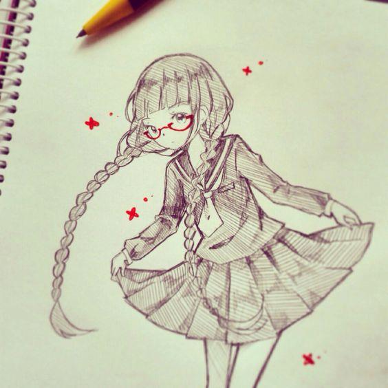 Red data anime girl