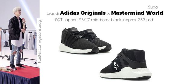 SUGA  #SUGA 171128 Run BTS! epi. 29 #BTS  #방탄소년단  #민윤기  Adidas Originals x Mastermind World - mmw eqt equipment support  93/17 mid boost black/blackpic.twitter.com/bEI6cR6Mkm