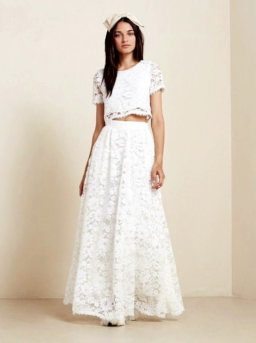 20 alternative wedding looks reformation sofia two piece for Wedding dress skirt and top