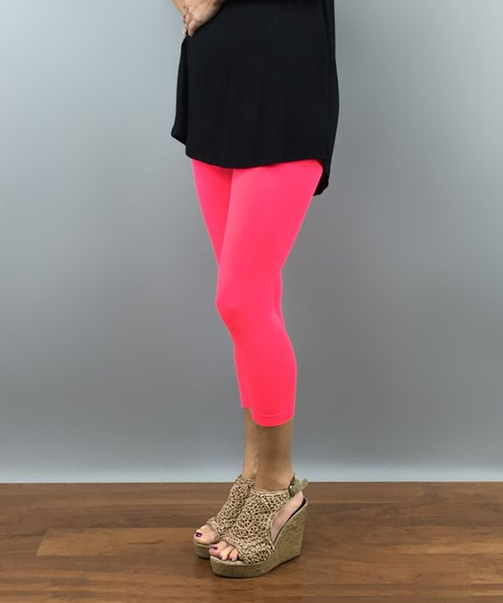 Look at this Neon Coral Opaque Capri Leggings on #zulily today!
