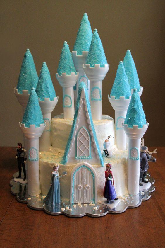Frozen Birthday Cake using the Wilton Castle Cake Pan set ...