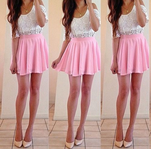 Pink skirt outfit. Cute. | u2661 Clothes and Outfits ...